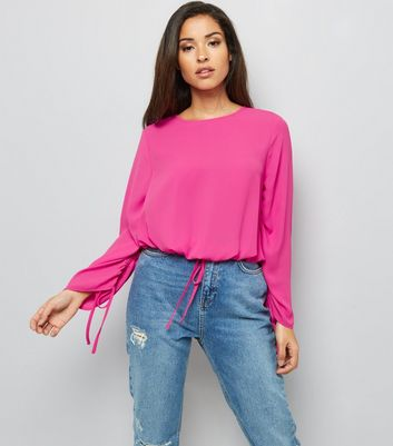 Bright Pink Ruched Tie Hem Top New Look