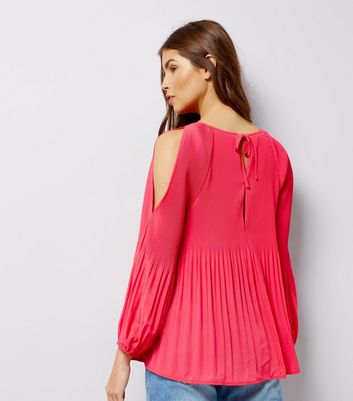 Pink Pleated Cold Shoulder Cold Shoulder Top New Look