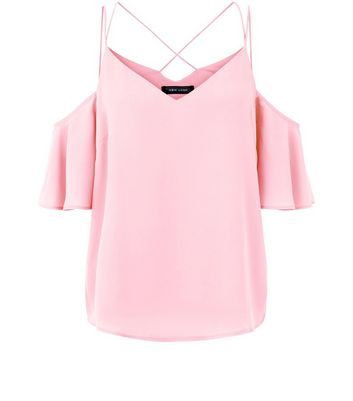 Pink Cold Shoulder Cross Strap Back Top New Look