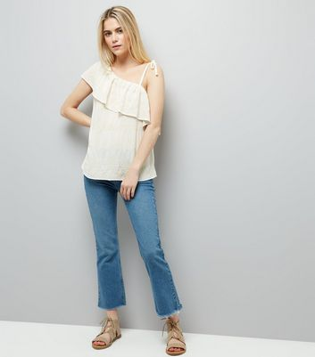 Cream Embroidered Off the Shoulder Top New Look
