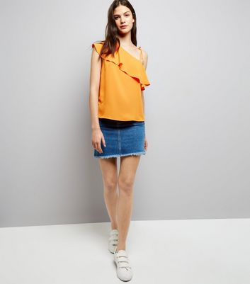 Orange Frill Trim Tie Strap Off the Shoulder Top New Look