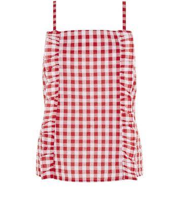 Red Frill Trim Gingham Seersucker Top New Look