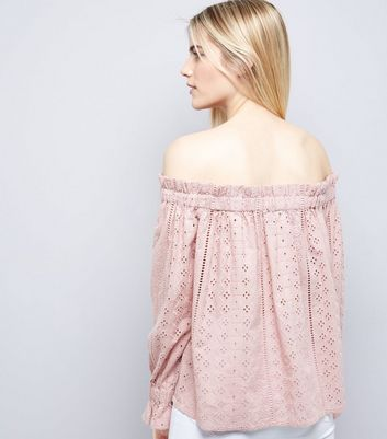 Shell Pink Broderie Bardot Top New Look