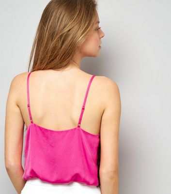 Bright Pink Satin Crop Top New Look