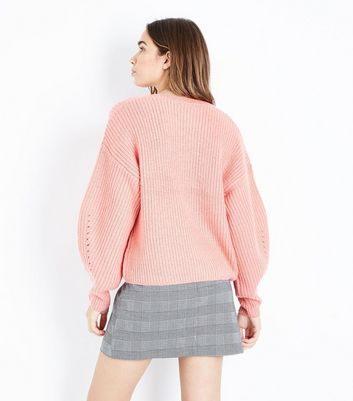 Pink Balloon Sleeve Ribbed Jumper New Look