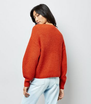 Orange Balloon Sleeve Ribbed Jumper New Look