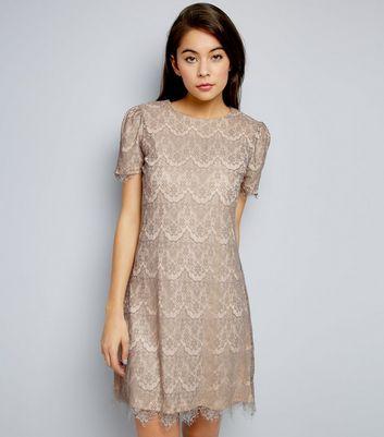 Mela Pale Grey Lace Short Sleeve Dress New Look
