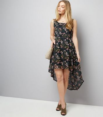 Mela Black Ditsy Floral Print Sleeveless Dress New Look