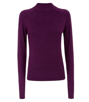 Dark Purple Funnel Neck Jumper New Look