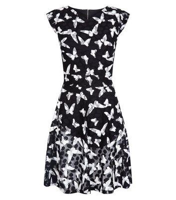 Mela Black Butterly Print Dress New Look