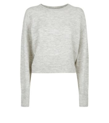 Pale Grey Drop Arm Cropped Jumper New Look