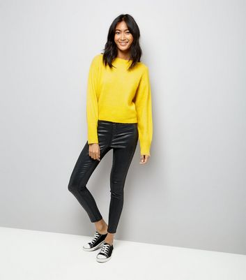 Yellow Drop Arm Cropped Jumper New Look