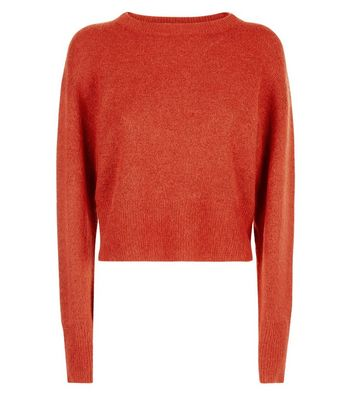 Red Drop Arm Cropped Jumper New Look