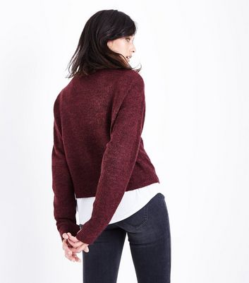 Burgundy Drop Arm Cropped Jumper New Look