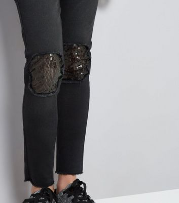 Teens Black Ripped Sequin Insert Skinny Jeans New Look