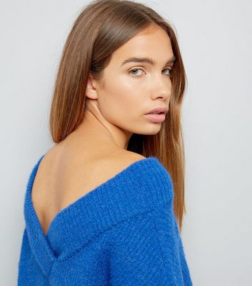 Blue Sweetheart Neck Jumper New Look