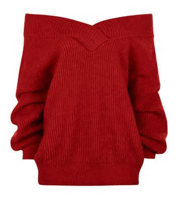 Red Bardot Neck Jumper New Look