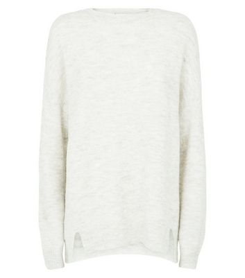 Cream Textured Longline Jumper New Look