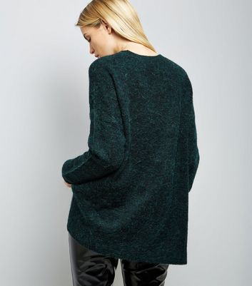 Dark Green Textured Longline Jumper New Look