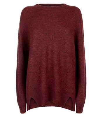 Burgundy Textured Longline Jumper New Look