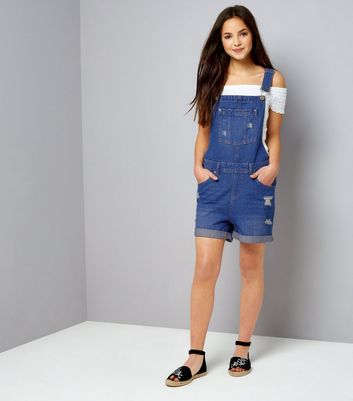 Teens Blue Ripped Short Dungarees New Look