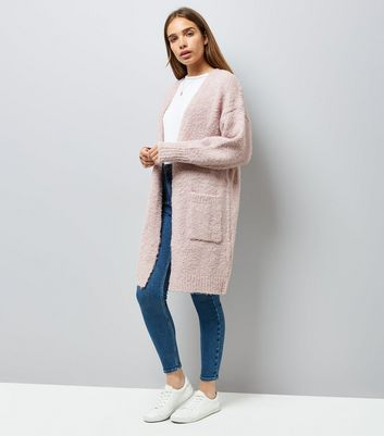 Pink Boucle Oversized Cardigan New Look