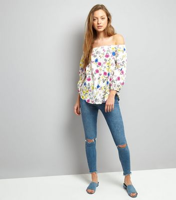 White Floral Print Bardot Neck Top New Look