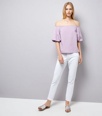 Purple Balloon Sleeve Bardot Neck Top New Look