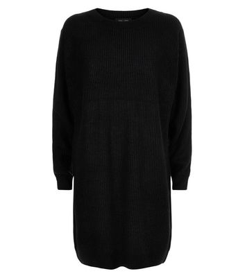 Black Ribbed Batwing Sleeve Jumper Dress New Look
