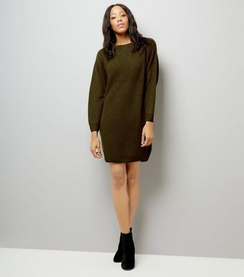 Khaki Ribbed Batwing Sleeve Jumper Dress New Look