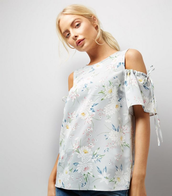 4030af737a6 Tall Grey Floral Print Ruched Sleeve Cold Shoulder Top | New Look