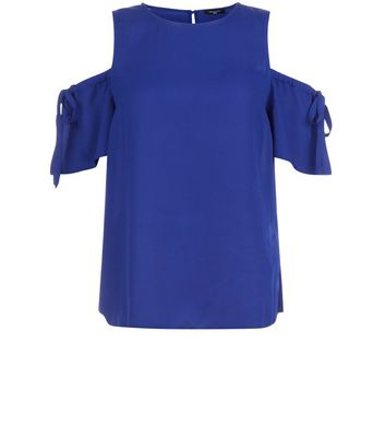 Tall Blue Ruched Tie Cold Shoulder Top New Look