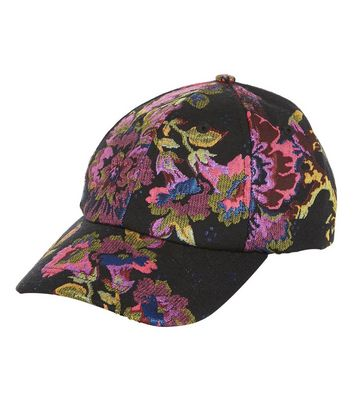 Black Floral Brocade Cap New Look