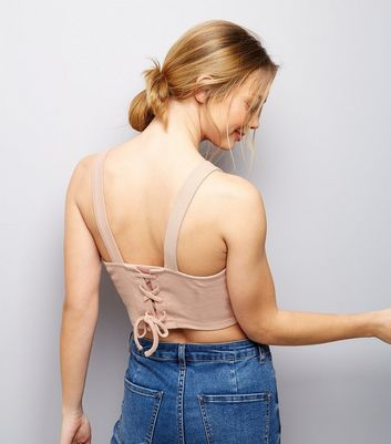 Pink Lace Back Cropped Vest New Look