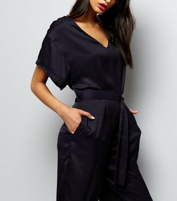 Mela Black Cropped Jumpsuit New Look