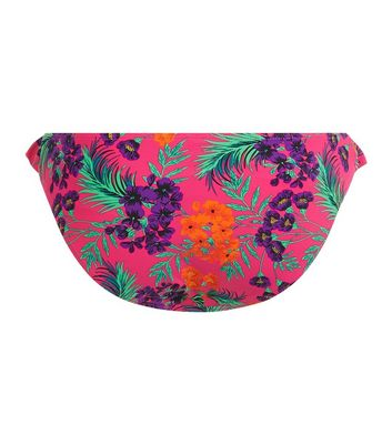 Bright Pink Tropical Print Frill Trim Bikini Bottoms New Look