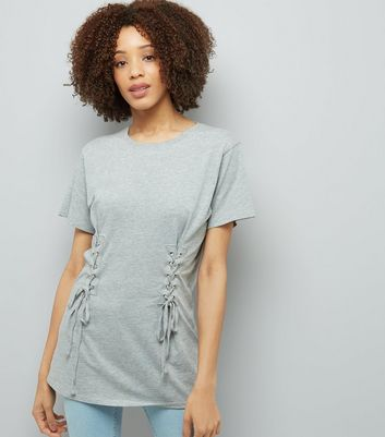 Grey Lace Up Corset Longline T-Shirt New Look