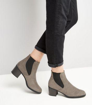 Grey Comfort Suedette Chelsea Boots New Look