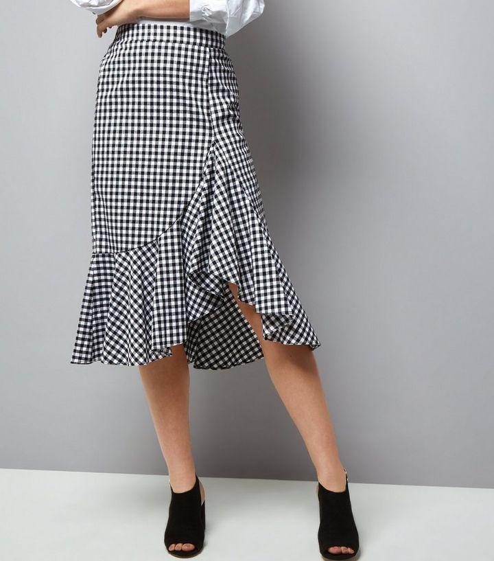 5d8fb471e23c64 Black Gingham Check Frill Trim Midi Skirt | New Look