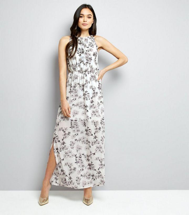 cce494b6a8 Mela White Floral Chiffon Maxi Dress
