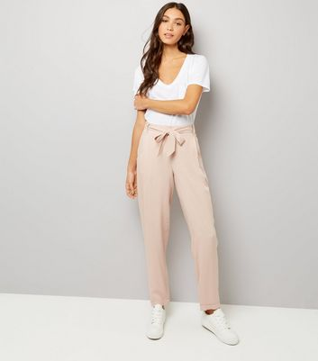 Mid Pink Tie Waist Trousers New Look