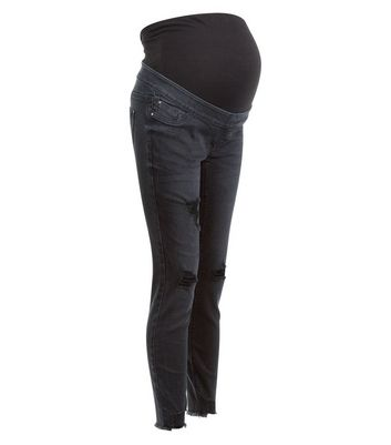 Maternity Black Over Bump Ripped Skinny Jeans New Look