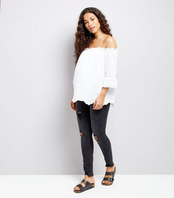 Maternity Black Ripped Under Bump Skinny Jeans New Look