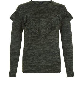 Khaki Frill Trim Brushed Long Sleeve Top New Look