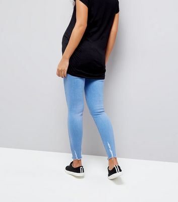 Maternity Blue Under Bump Ripped Skinny Jeans New Look