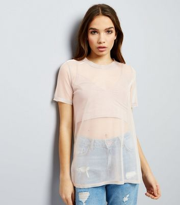 Mid Pink Sheer Metallic Boyfriend T-Shirt New Look