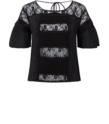 Black Lace Panel Short Sleeve Top New Look