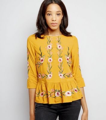 Yellow Floral Embroidered Peplum Hem Top New Look