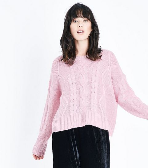 2e17b16635ef06 ... Pink Chunky Cable Knit Drop Shoulder Jumper ...