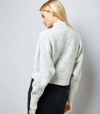 Grey Ribbed Batwing Sleeve Funnel Neck Jumper New Look